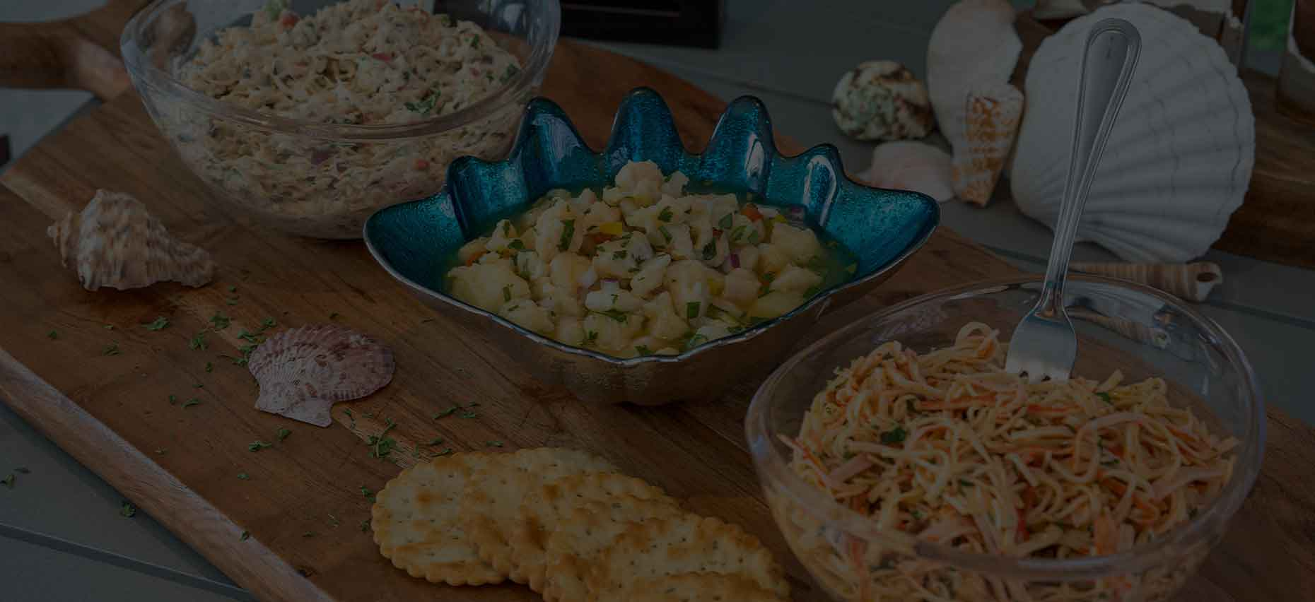 Ceviche, Spicy Crab and Chicken Salad
